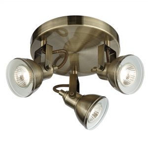 A contemporary designed spotlight finished in antique brass, which is a colour usually associated with traditional looking lights