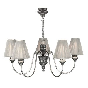 A brushed nickel light fitting