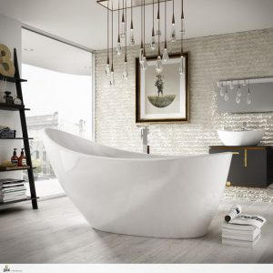 Pendant lights hanging over a bathtub