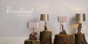 A view of the 4 table lamps that make up the Woodland Collection by David Hunt
