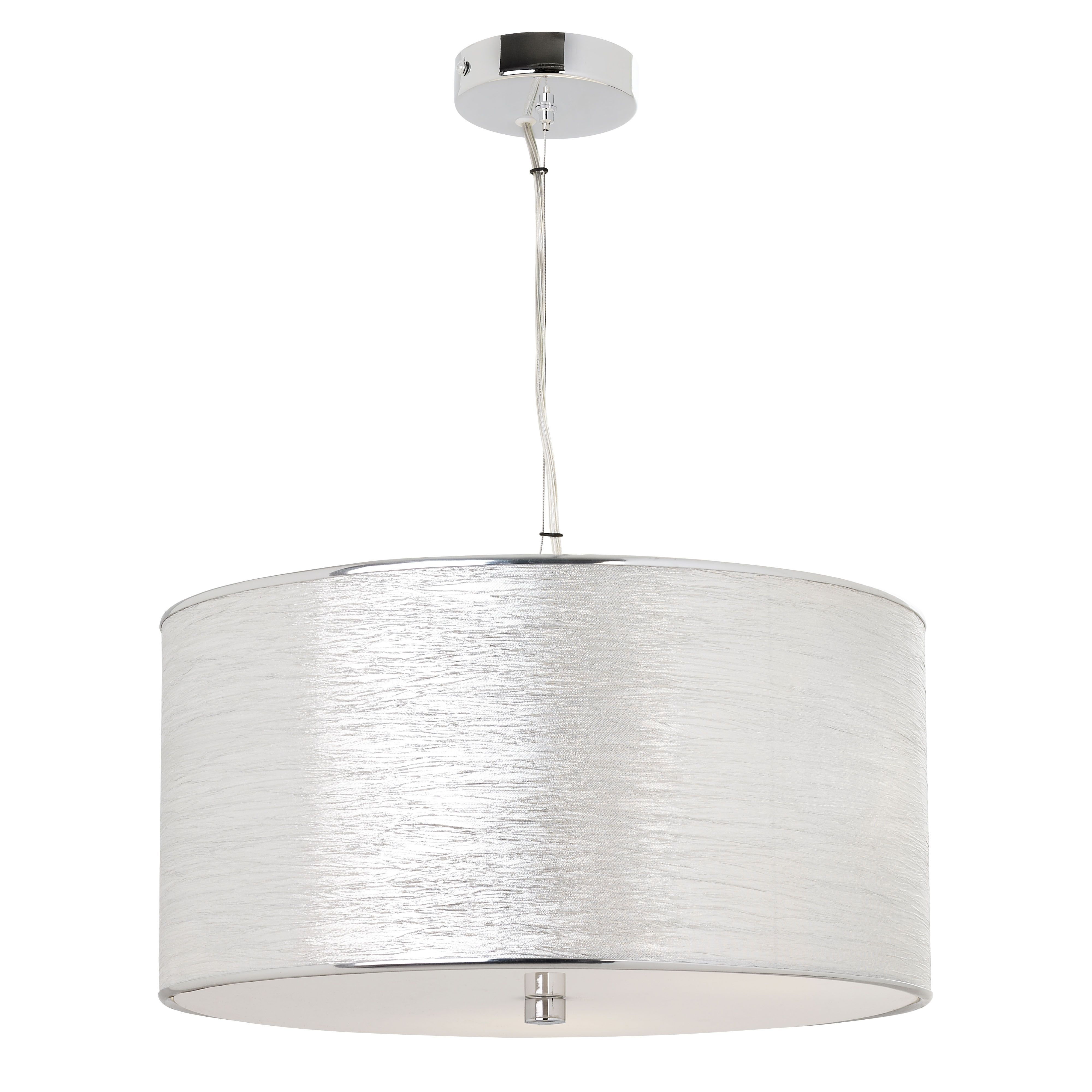 3 Light Pendant In Chrome With Fabric Shade Acrylic