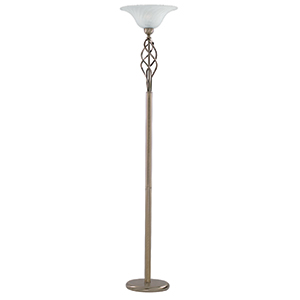 Wall Hugger Floor Lamp : ANTIQUE BRASS FLOOR LAMP COMPLETE WALL MARBLE GLASS 6021AB Class 2 Double Insulated
