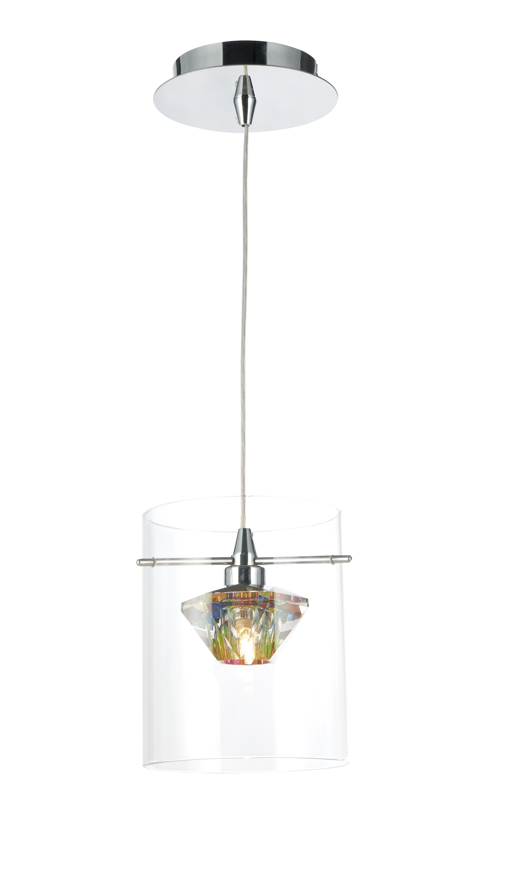 Double Insulated Class 2 Wall Lights : Decade 1 Light Pendant Polished Chrome Clear Class 2 Double Insulated BXDEC0108-17