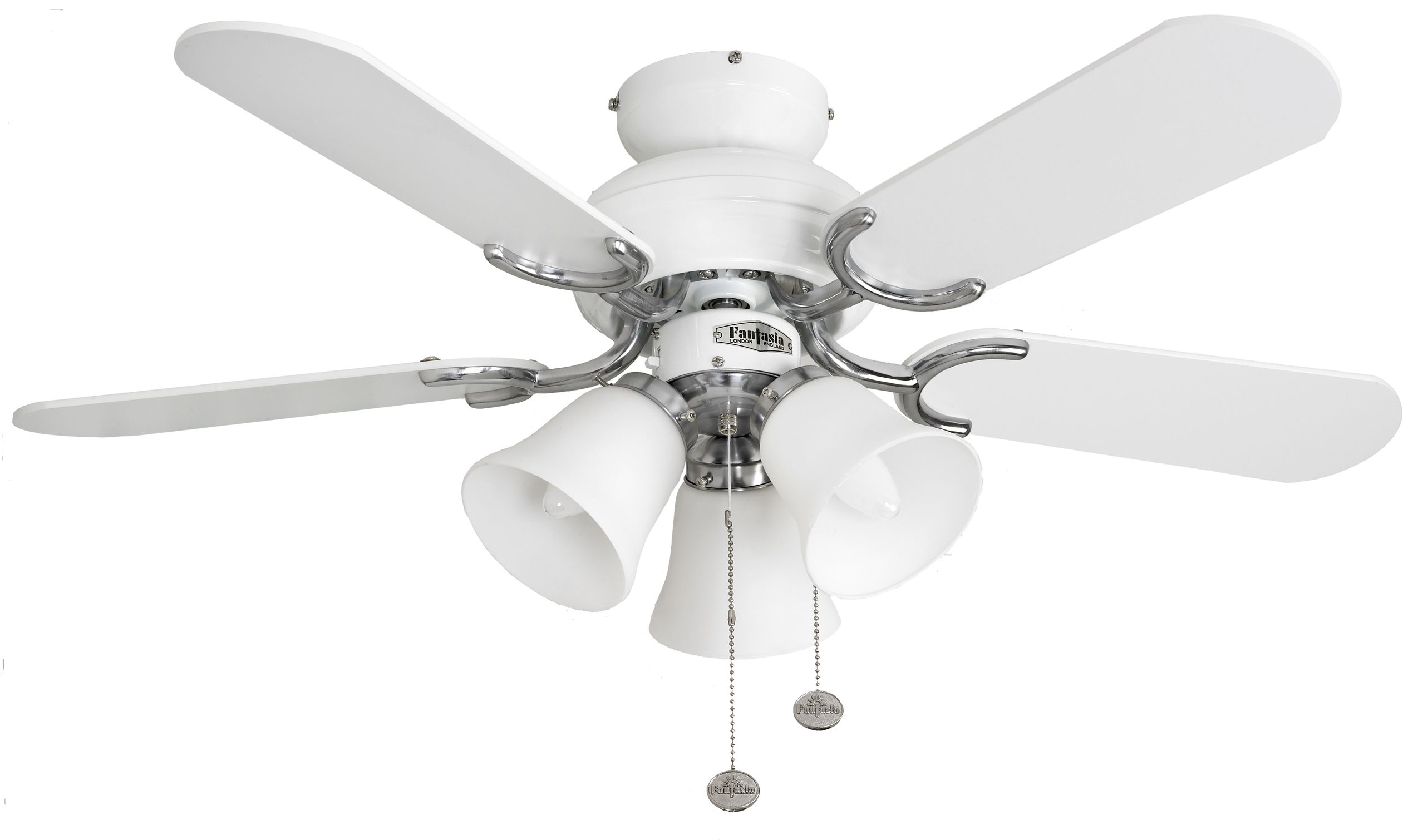 Fantasia Capri bi 36 White and Stainless Steel Ceiling Fan