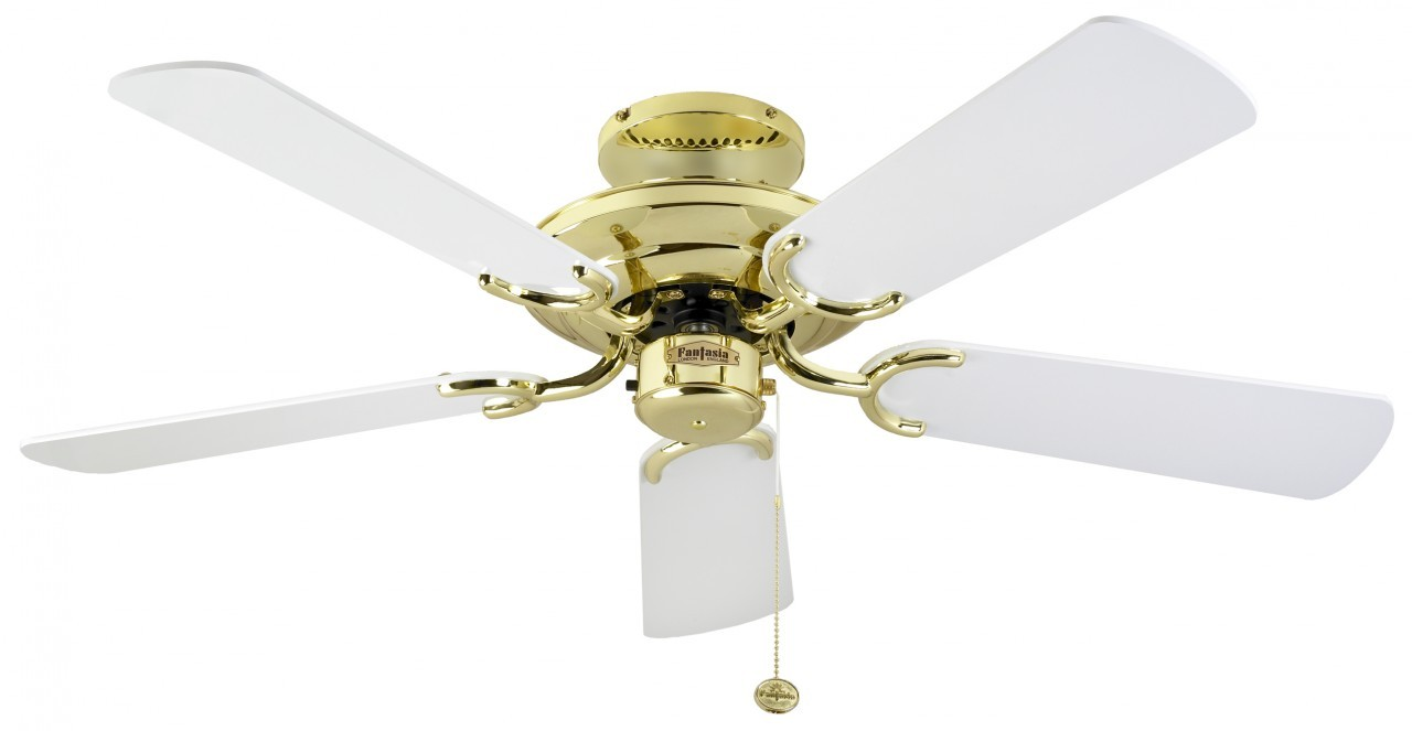 Fantasia Mayfair 42 Polished Brass And White Blades