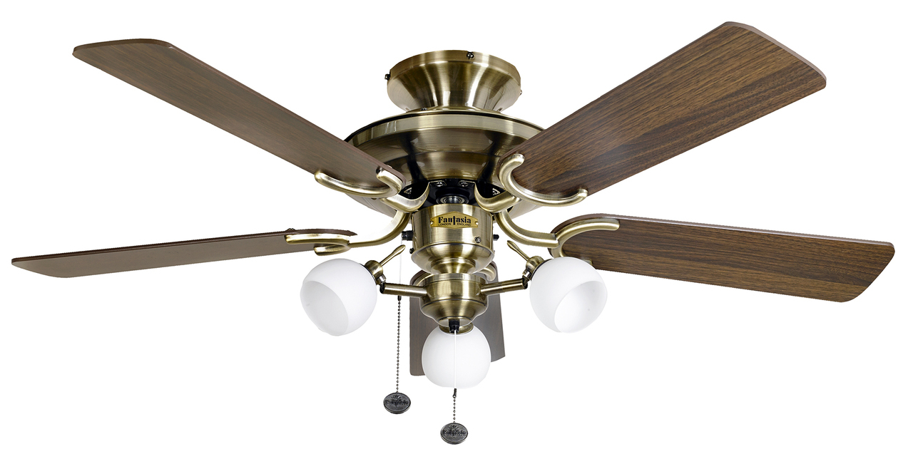 Oak Ceiling Fans With Lights : Fantasia mayfair combi antique brass dark oak blades