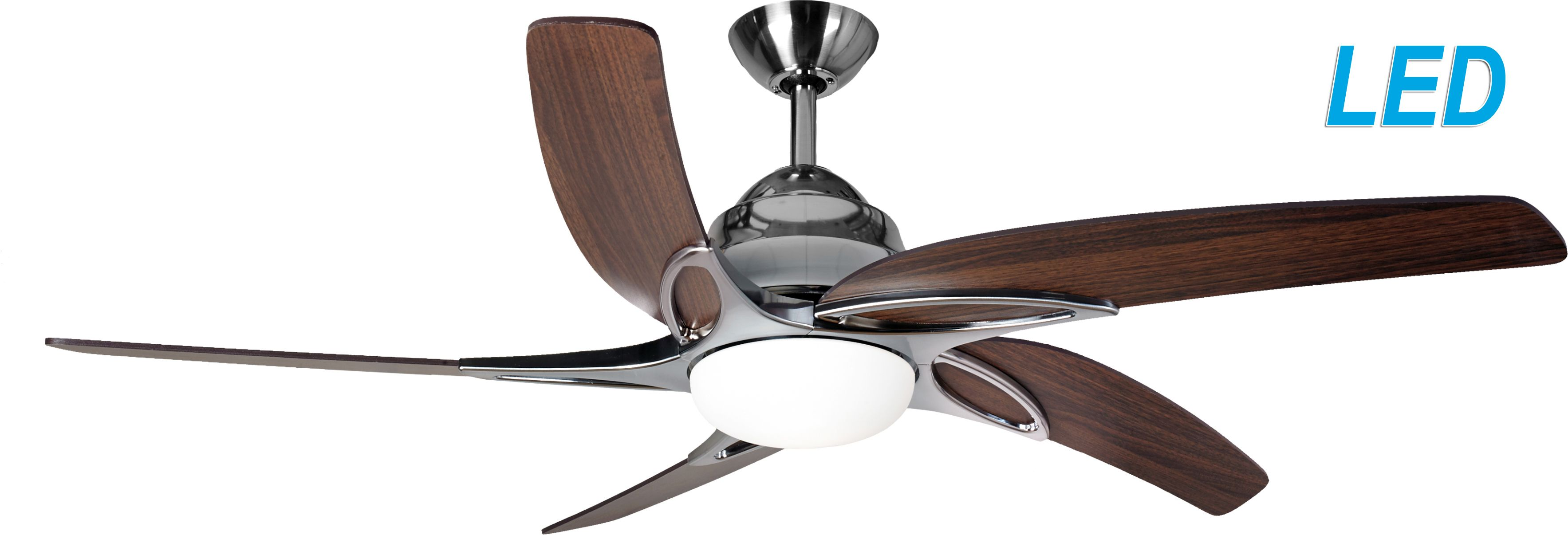 Oak Ceiling Fans With Lights : Fantasia viper stainless steel with dark oak blades