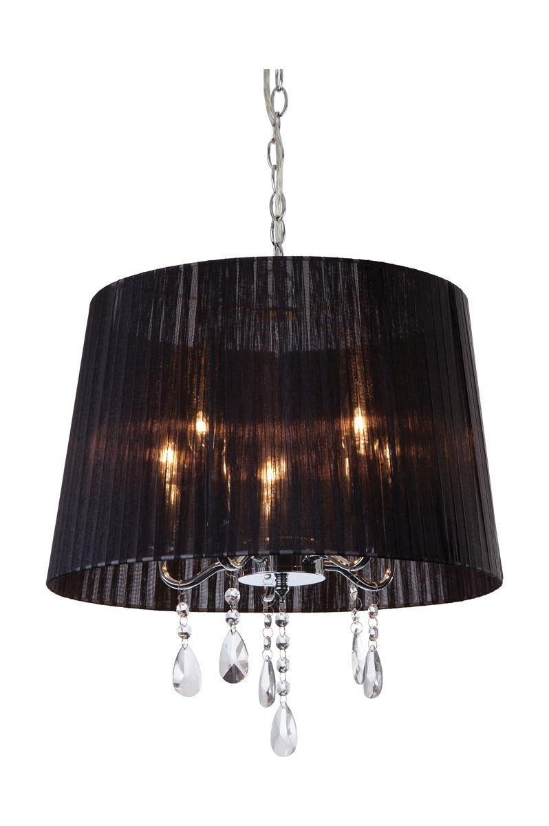 Firstlight 8309bk chrome with black shade and crystal for Lustre baroque noir