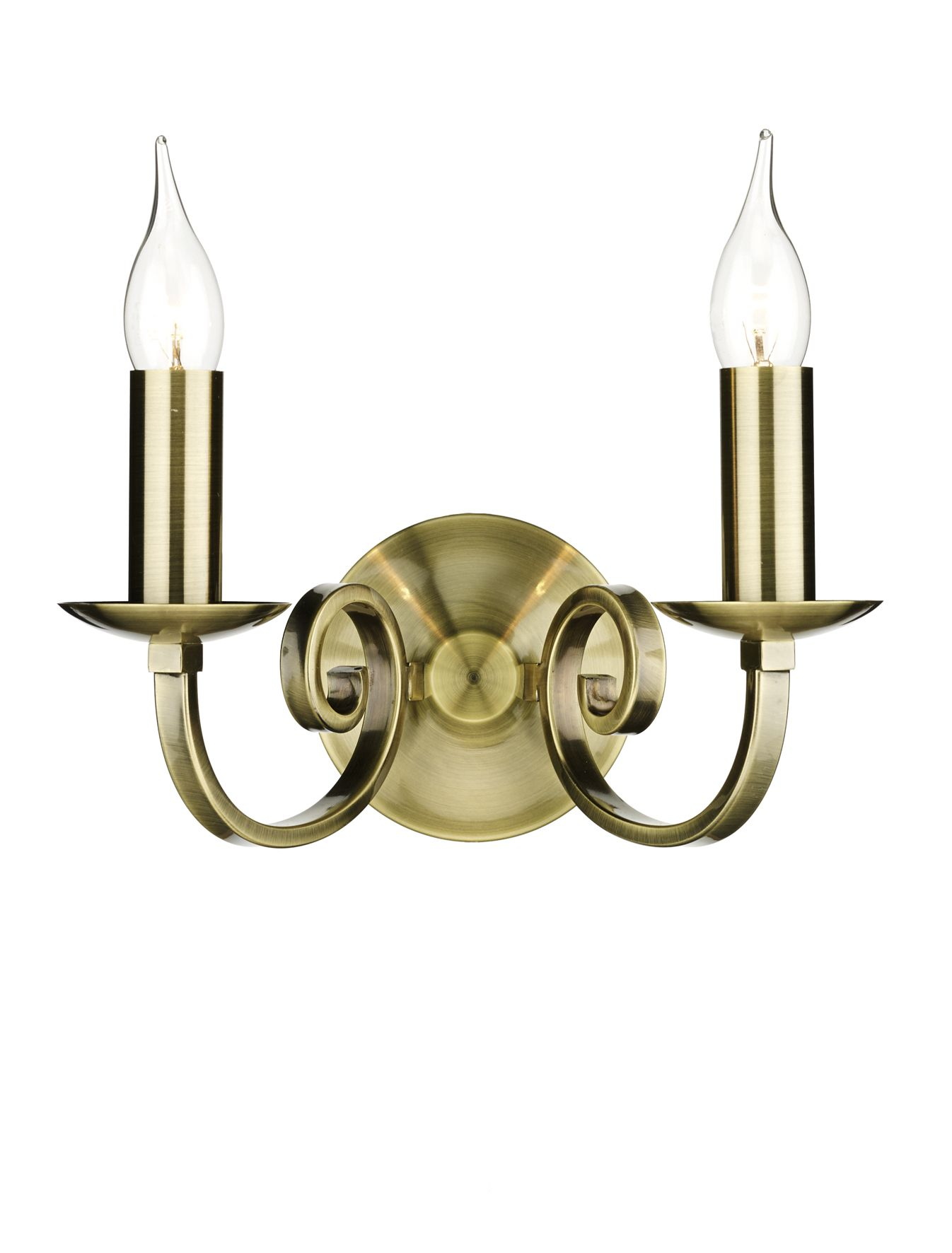 Double Insulated Class 2 Wall Lights : Murray Double Wall Bracket Antique Brass Class 2 Double Insulated BXMUR0975-17