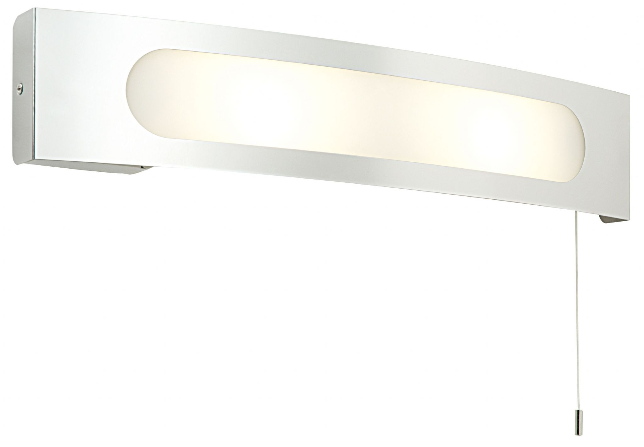 Polished Stainless Steel Frosted With White Screen Printed Glass Ip20 Bathroom Wall Light