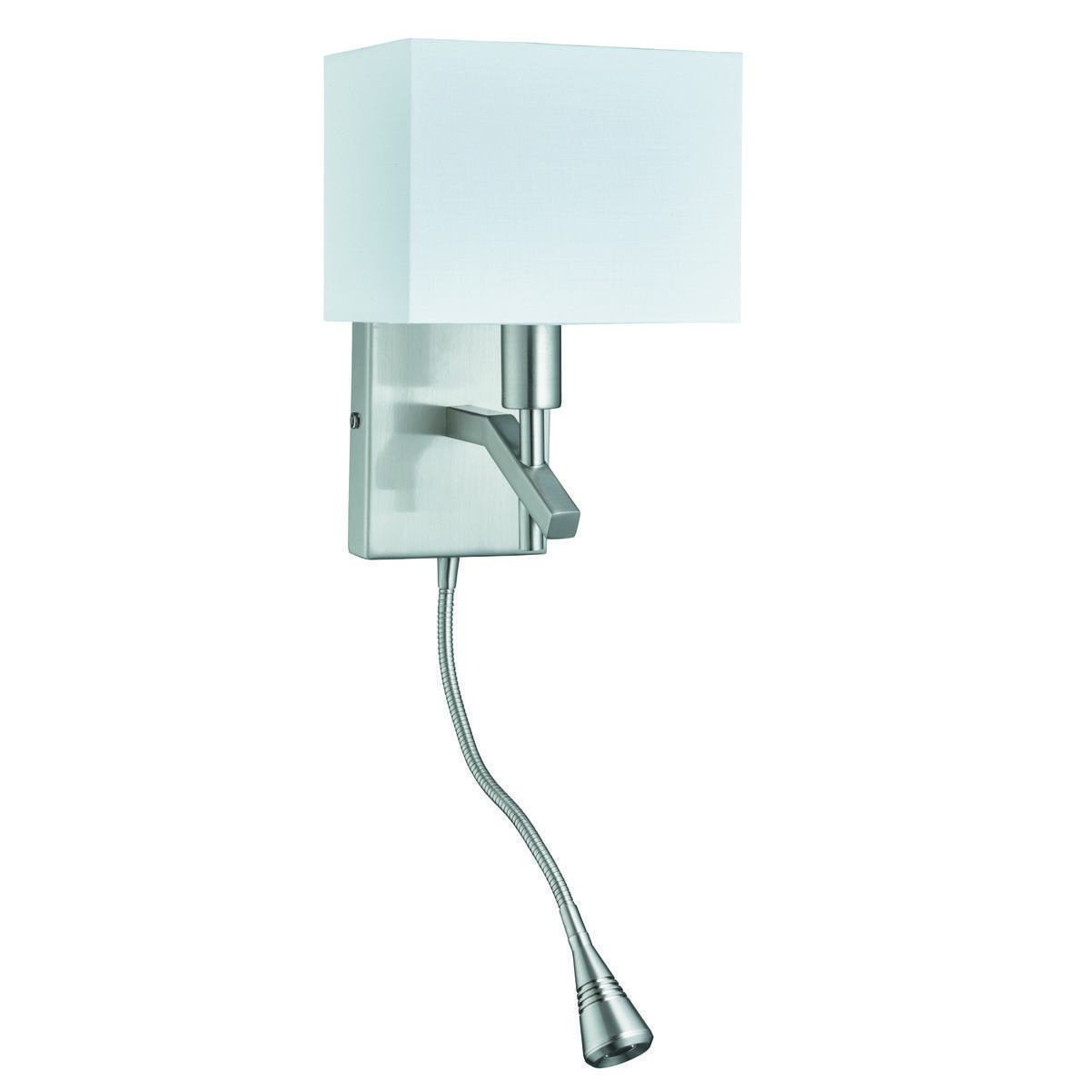 ADJUSTABLE WALL ANGLE WALL BRACKET LED FLEXI-ARM LIGHT SATIN SILVER WHITE RECTANGLE SHADE 6104SS