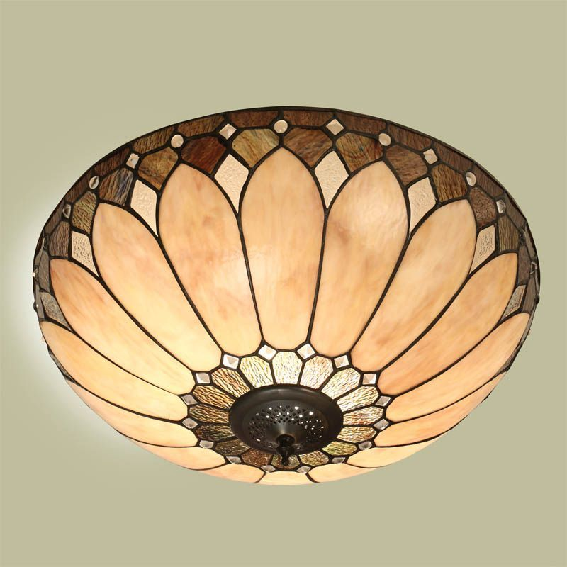 Brooklyn Flush Ceiling Light Art Deco Flush Fitting T048FL Tiffany Style