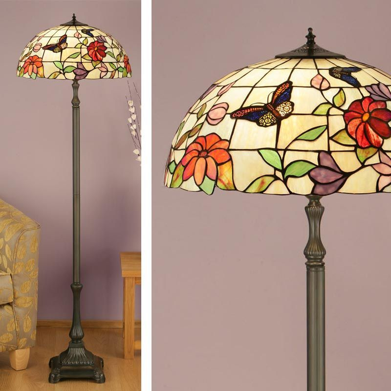 butterfly floor lamp nature tiffany studio traditional. Black Bedroom Furniture Sets. Home Design Ideas