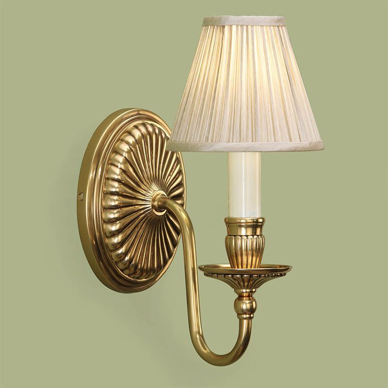 Wall Lights In Brass : Fitzroy Solid Brass Wall Light Beige Shade Traditional Wall Lamp ABY133WW