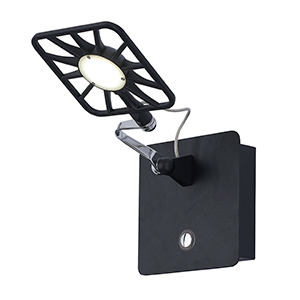 1 Light Led Square Head Black Wall Light 7262Bk