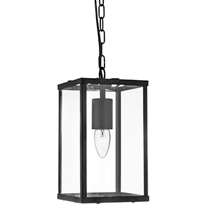 1 Light Rectangle Black Lantern With Clear Glass 4241Bk