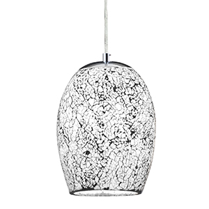 1 Light White Crackle Glass Pendant 8069Wh