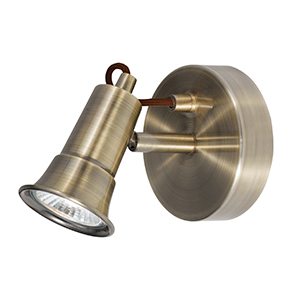 1 Light Antique Brass Spotlight - Gu10 1221Ab