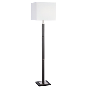 1 Light Brown Wood/Satin Silver Rectangular Floor Lamp  8880Br (Class 2 Double Insulated)