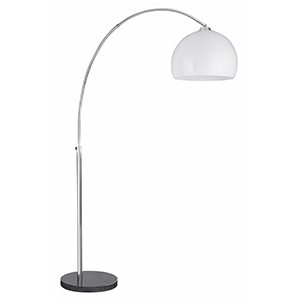 1 Light Chrome Arc Floor Stand-White Shade Black Base 1037Cc (Class 2 Double Insulated)
