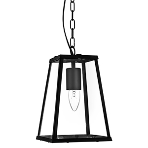 1 Light Tapered Black Lantern With Clear Glass 4614Bk