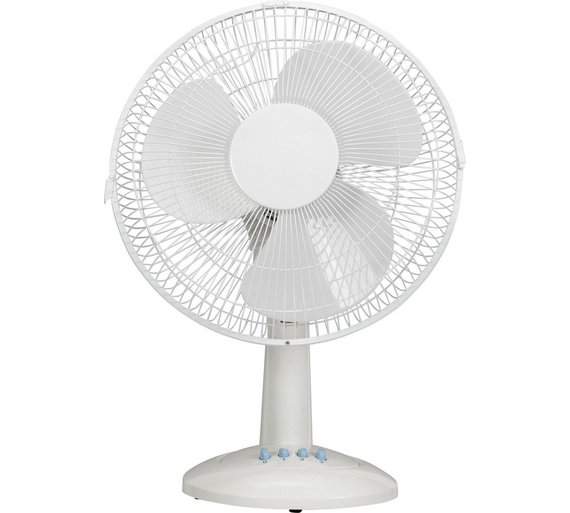 "12"" Pink & White 3-speed desk fan 292885"