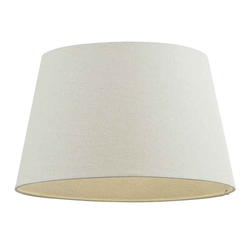 "14"" TAPERED LINEN SELF LINED SHADE WITH REVERSABLE GIMBAL- IVORY CICI-14IV"