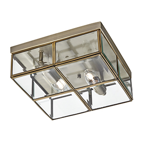 2 Light Antique Brass Flush Box With Clear Glass 6769-26Ab