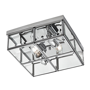 2 Light Chrome Flush Box With Clear Glass Shade 6769-26Cc