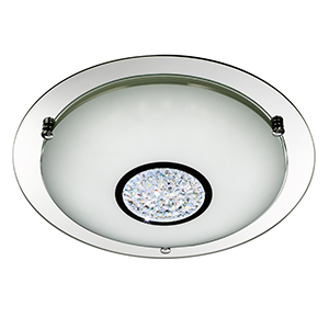 24 X Led Chrome Flush - White Glass Shade With Glass Detail 2773-31