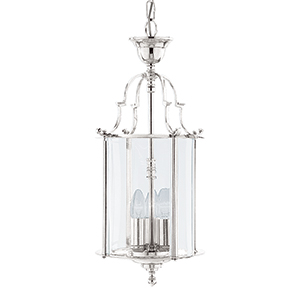 25Cm Chrome 3 Light Bevelled Glass Lantern 3003-10Cc