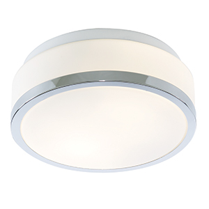 28Cm Chrome Flush Fitting With White Glass 7039-28Cc