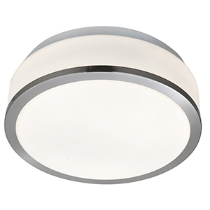 28Cm Satin Silver Flush Fitting With White Glass 7039-28Ss