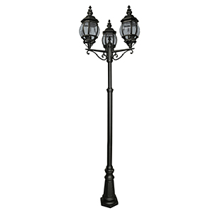3 Light Black Outdoor Post. Ip44 7173-3