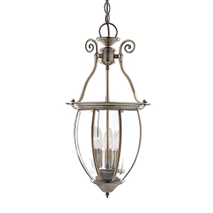 3 Light Bowed Bevelled Glass Antique Brass Lantern 9501-3