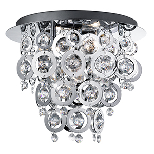3 Light Chrome Flush With Chrome Rings And Clear Acrylic Inserts 0573-3Cc