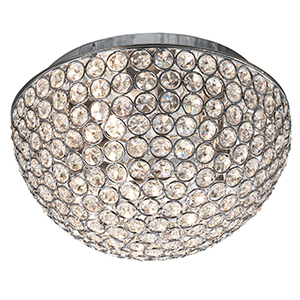 3 Light Chrome Flush With Clear Crystal Buttons - Dia 25Cm 5162-25Cc