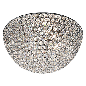 3 Light Chrome Flush With Clear Crystal Buttons - Dia 35Cm 5163-35Cc