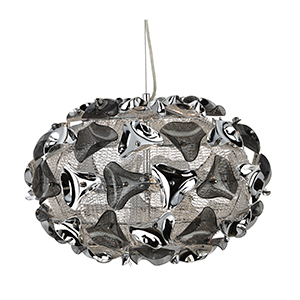 3 Light Large Chrome And Smokey Acrylic Pendant. Flexi Cable Permits Height Adjustment. 5803-3Sm