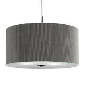 3 Light Silver Drum Pendant - Frosted Glass Diffuser 2356-60Si