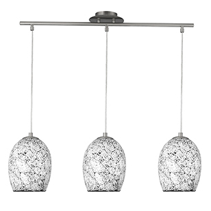 3 Light White Crackle Glass Pendant 8069-3Wh