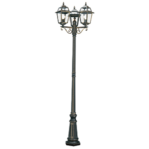 3 Light Black/Gold Outdoor 2.3M Post. Ip44  1528-3