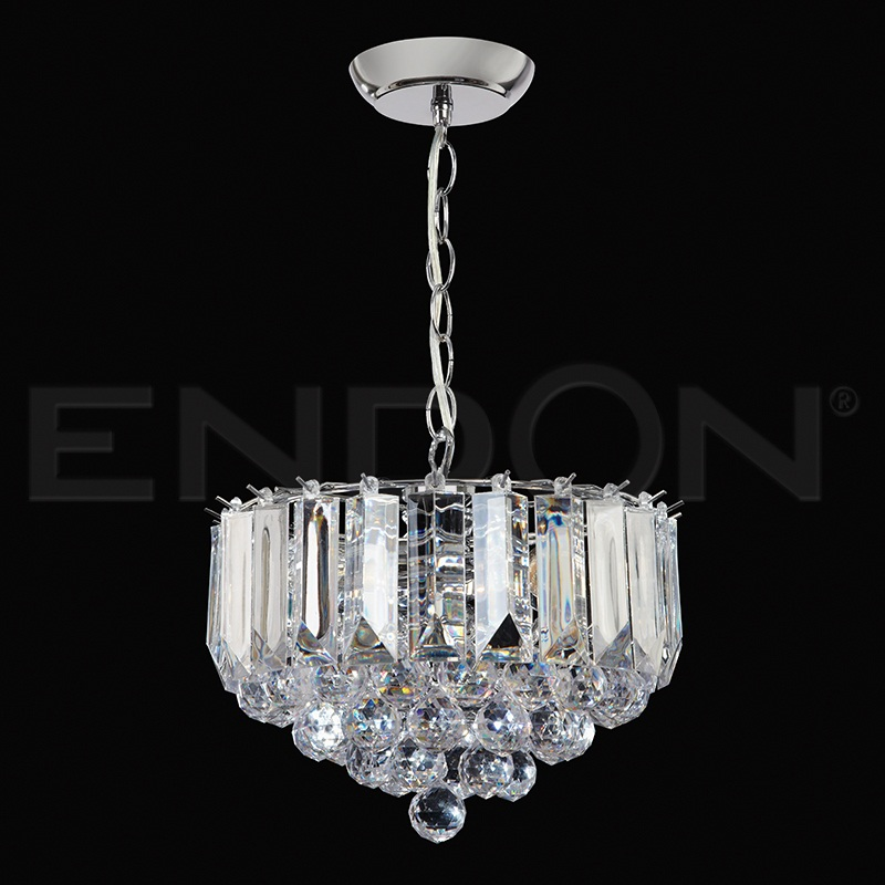 "3 x 60W POLISH/CHROME ACRYLIC PENDANT 12"" DIAMETER (updated version of T-699-12) FARGO-12CH"