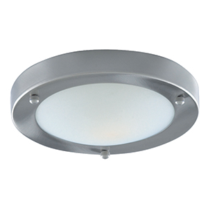 31Cm Domed White Glass Flush Satin Silver 1131-31Ss
