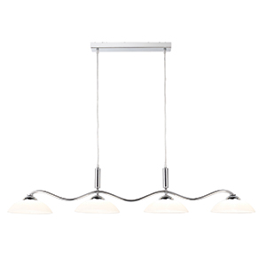 4 Light Chrome Bar Pendant - Frosted Glass Shades 6184-4Cc