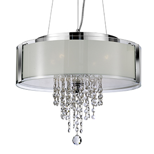 4 Light Chrome Ceiling - Frost Glass Panels/Diffuser And Clear Glass Drop 7824-4Cc