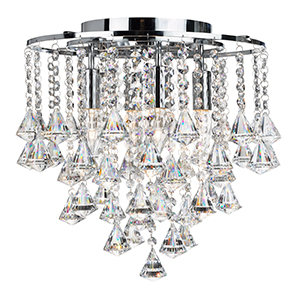 4 Light Flush With Clear Crystal Buttons And Drops 3494-4Cc