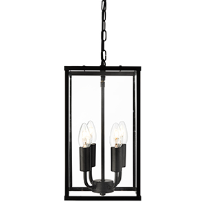 4 Light Rectangle Black Lantern With Clear Glass 4244Bk