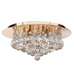 4 Light Gold Hanna Flush Fitting With Clear Crystal Balls 3404-4Go