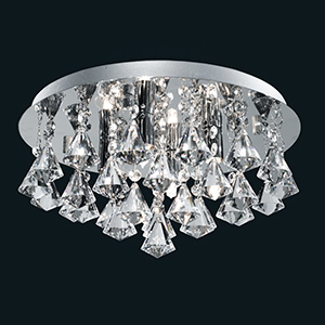 4 Light Hanna Chrome Flush Fitting Complete With Diamond Shape Crystals 3304-4Cc